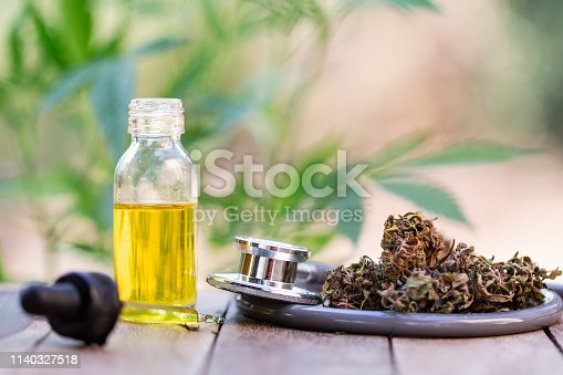 istock Hemp oil, Marijuana oil bottle, cannabis oil extracts in jars, medical marijuana, CBD oil pipette. 1140327518