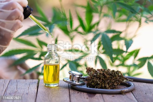 istock Hemp oil, Marijuana oil bottle, cannabis oil extracts in jars, medical marijuana, CBD oil pipette. 1140327521
