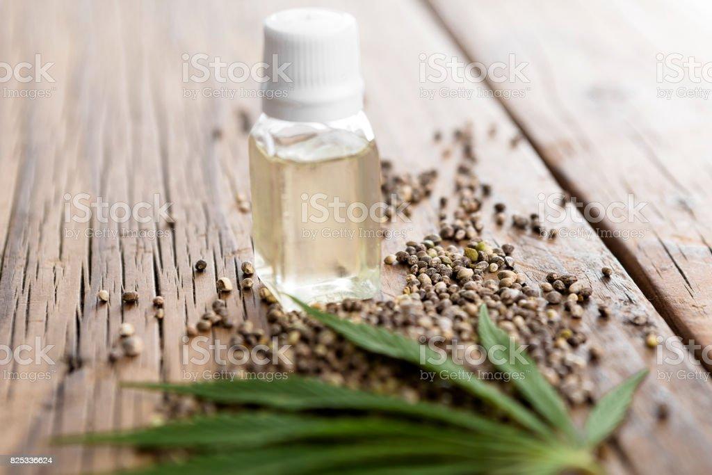 Hemp oil stock photo
