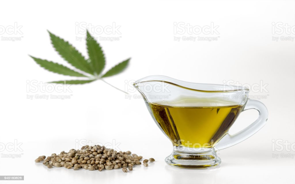 Hemp Seeds Hemp Seed Oil In A Glass Gravy Boat And Marijuana