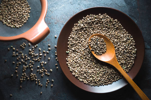 Hemp seeds on a plate and in a sieve on a gray blue stone stock photo
