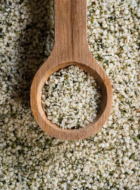 Hemp Seeds with Wooden Spoon stock photo