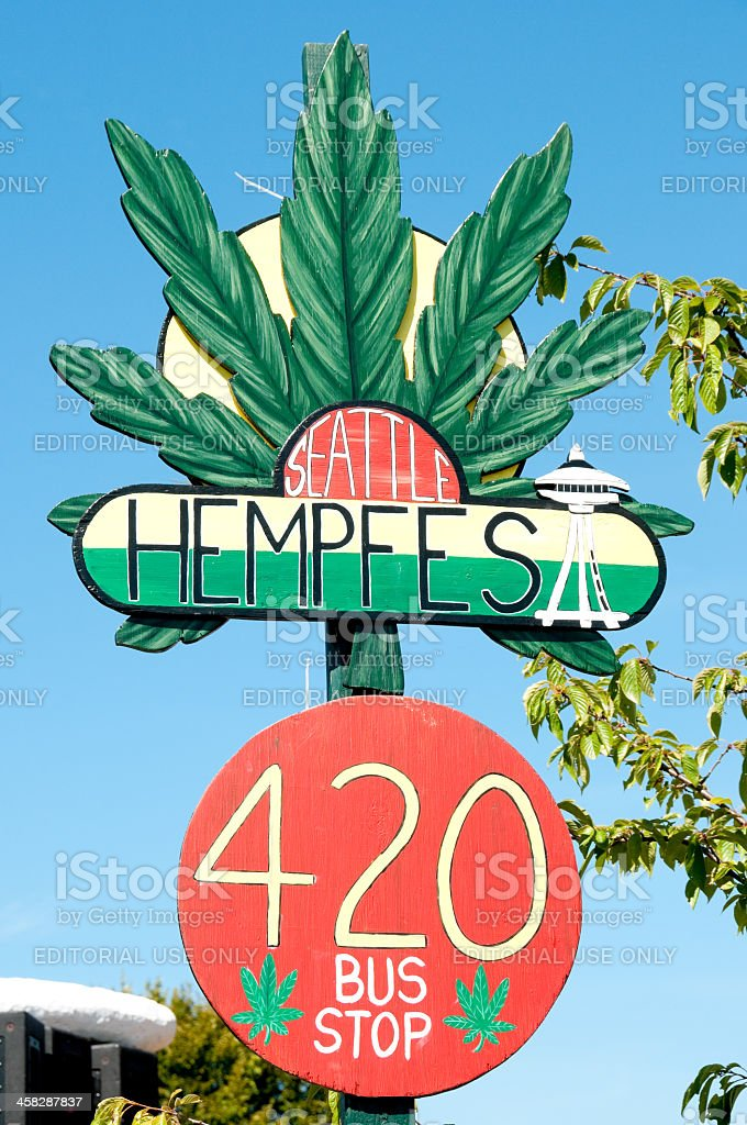 Hempfest Bus Stop royalty-free stock photo