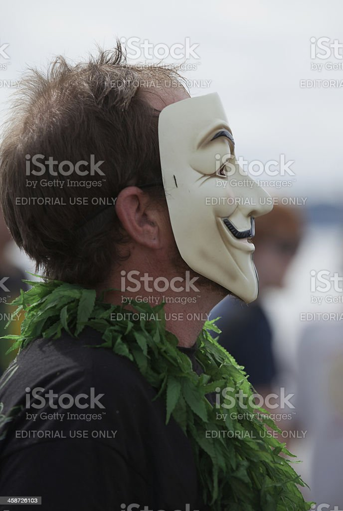 Hempfest Man in a Mask royalty-free stock photo