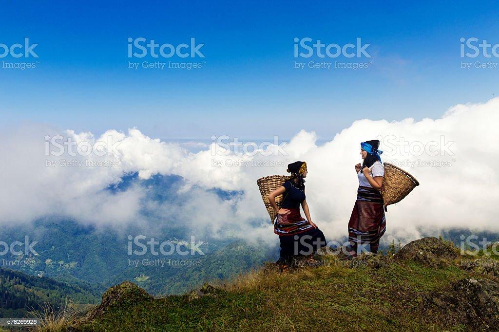 Hemsin women wearing traditional dress stock photo