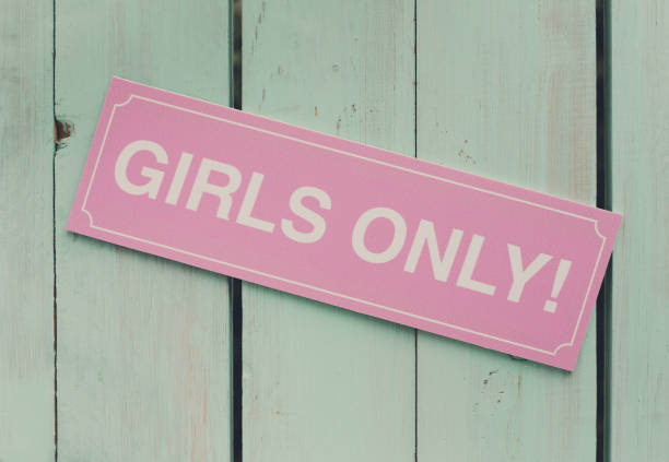Hen party, feminine sign girls only. Photo booth backdrop, decoration stock photo