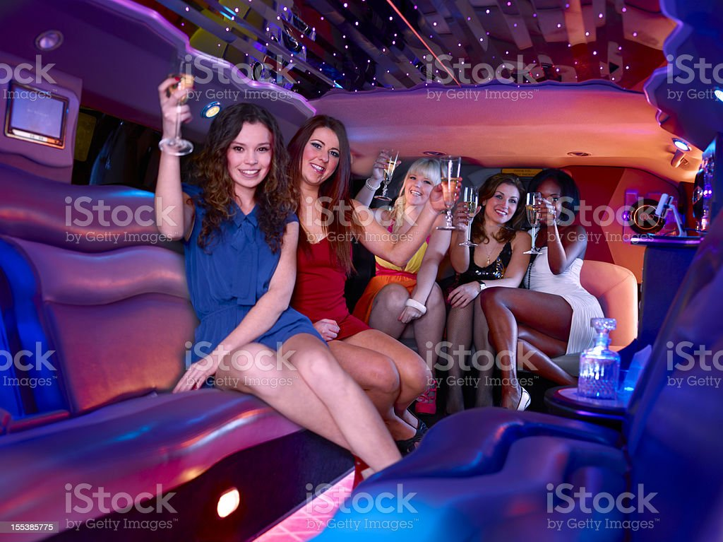 Hen party in a limousine stock photo