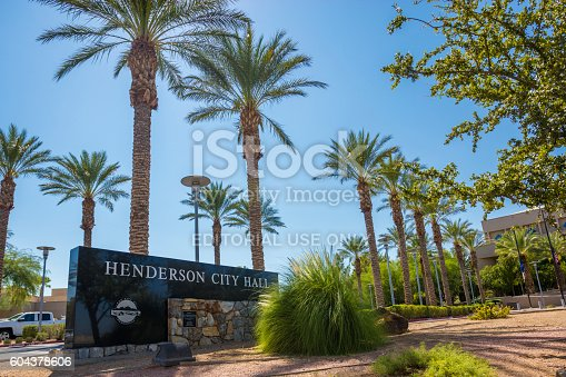 Henderson, USA - September 12, 2016: An editorial stock photo of Henderson City Hall in Henderson, Nevada. Henderson, officially the City of Henderson, is a city in Clark County, Nevada, United States. It is the second largest city in Nevada, after Las Vegas.