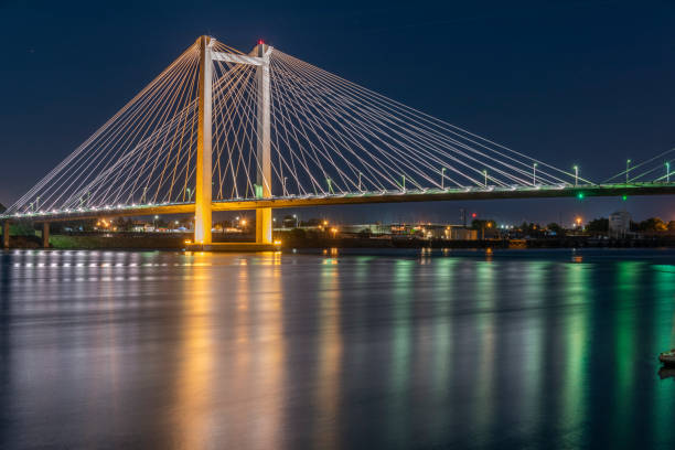 Hendler Bridge Washington State Clover Island Pasco Kennewick 4 Night Exposure HDR stock photo