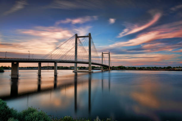 Hendler Bridge Washington State Clover Island Pasco Kennewick HDR Sunset 15 stock photo