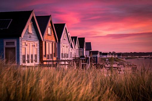 Hengistbury Head Beach Huts at Sunrise