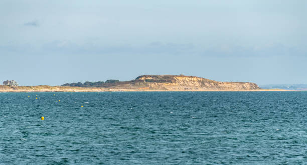 Hengistbury Head from the sea stock photo
