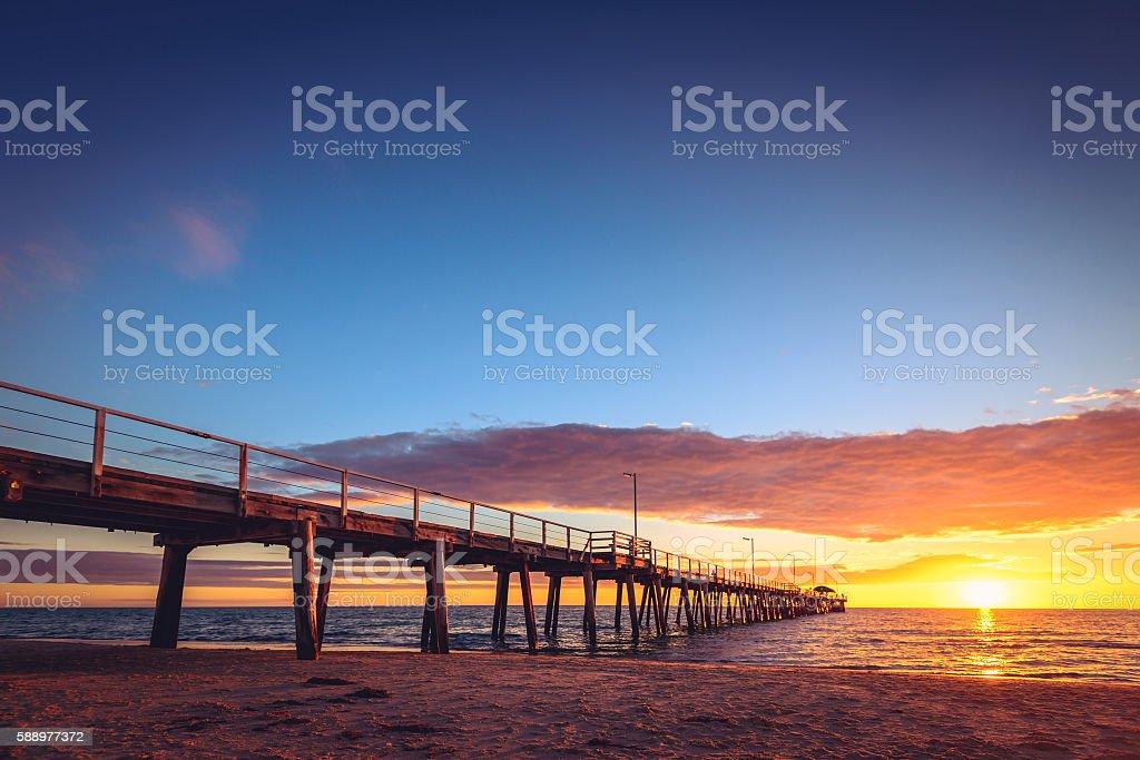 Henley Beach Jetty at sunset stock photo