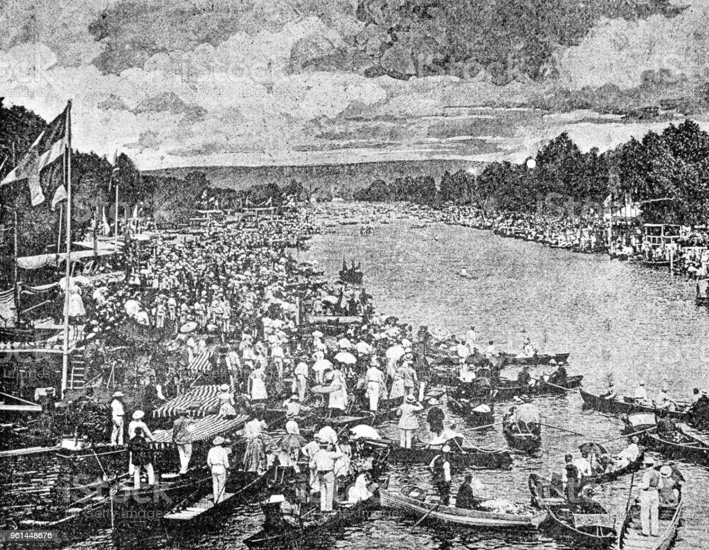 Henley Regatta in 1890, boat race stock photo