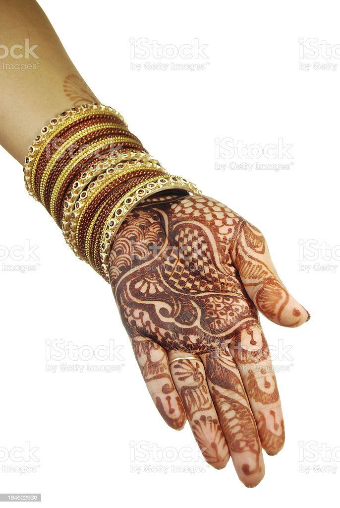 Henna And Bangles Indian Brides Hand stock photo | iStock