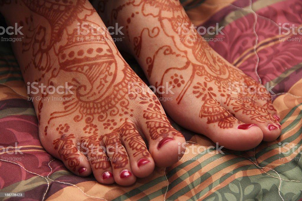 Henna Feet stock photo