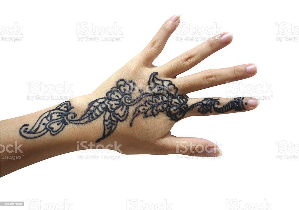 Henna hand royalty-free stock photo
