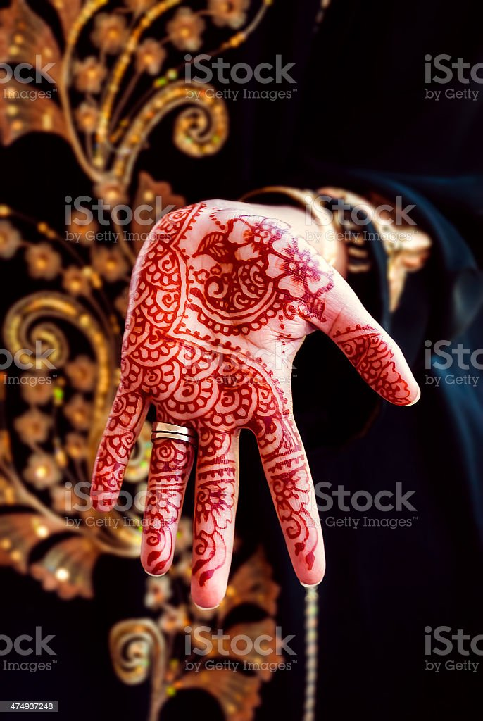 Henna hand tattoo body art tradition color stock photo