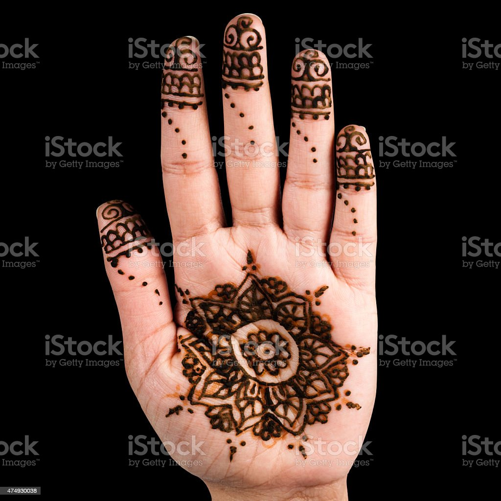 Henna hand tattoo decoration art clipping path square black background stock photo