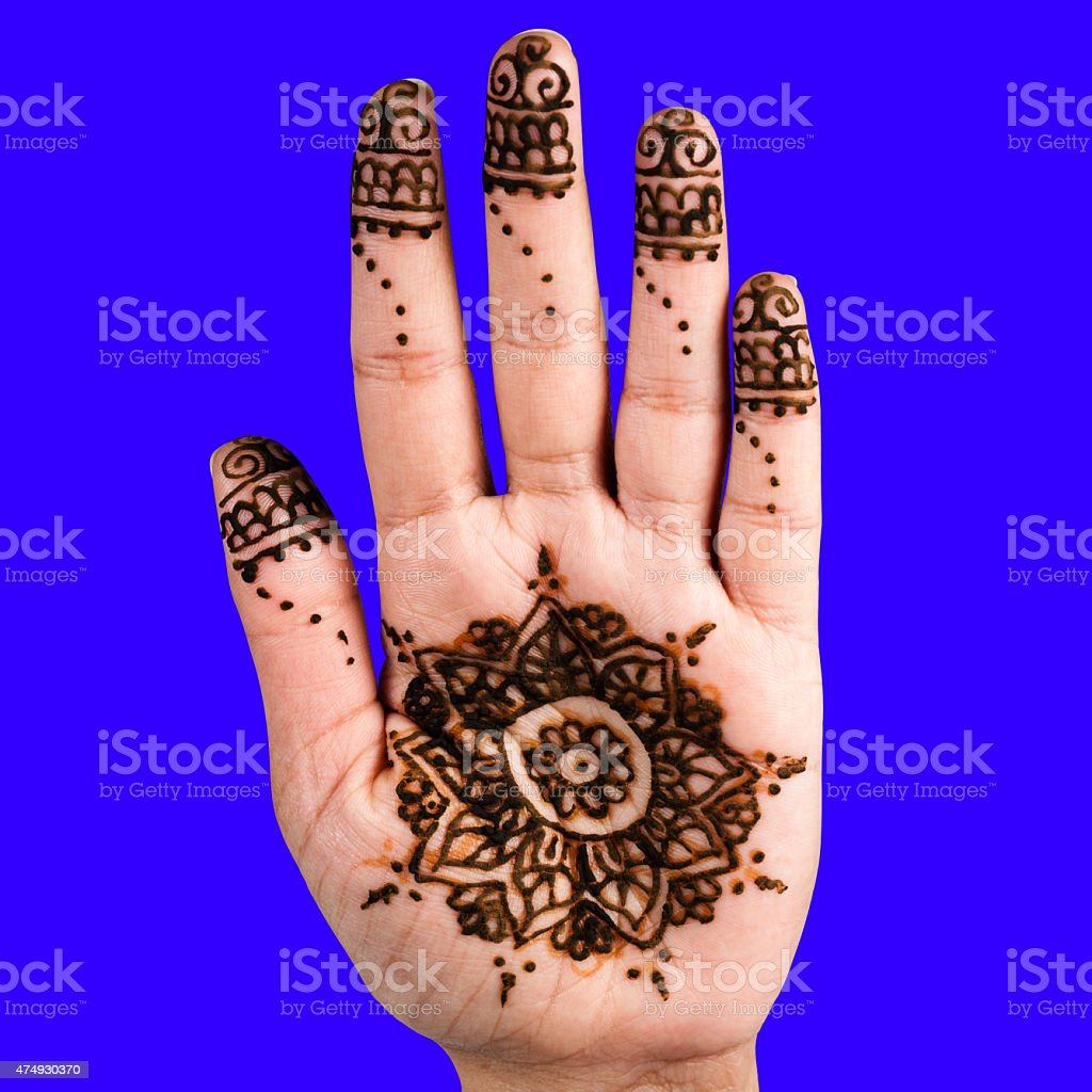 Henna hand tattoo decoration art clipping path square blue background stock photo