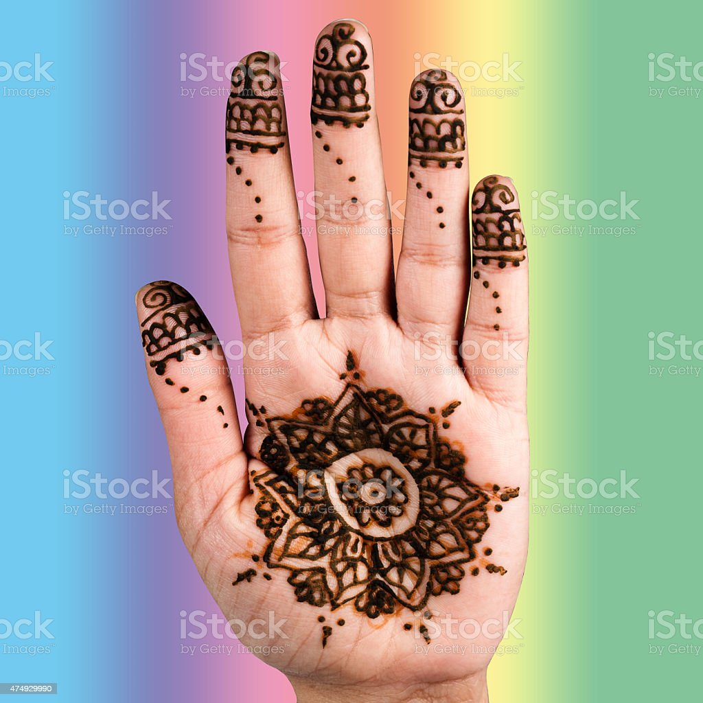 Henna hand tattoo decoration art clipping path square color background stock photo