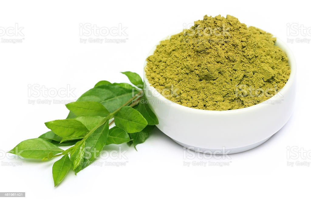 Henna leaves and powder on a white bowl stock photo
