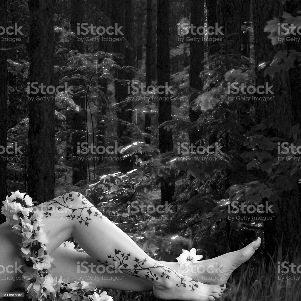 Henna Painted Female Legs in a Forest stock photo