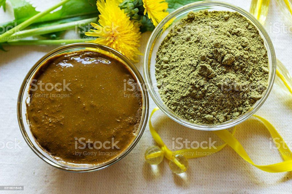 Henna powder. Henna paste. Prepare henna paste. stock photo