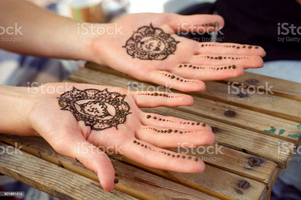 Henna tattoo, mehendi on women palms. Shot on film stock photo