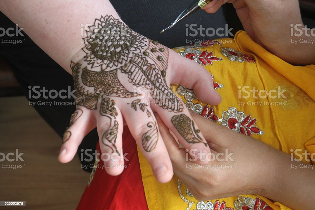 Henna Tattoo on Hand stock photo
