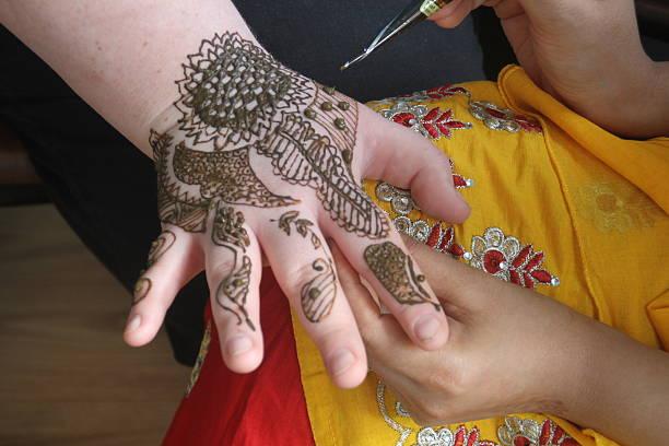 Henna Tattoo on Hand stock photo