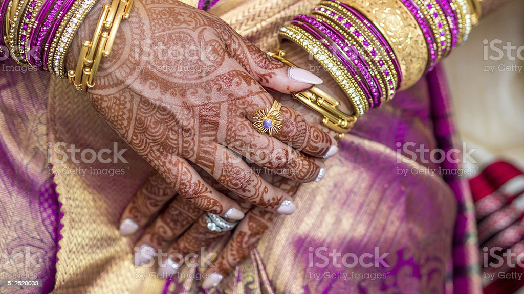 7ca4cfaf95778 Henna Tattooed Hands Of An South Indian Bride Stock Photo & More ...