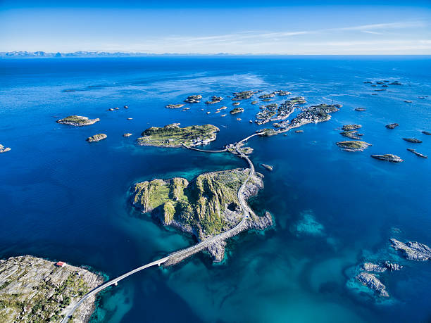 Henningsvaer from air Henningsvaer, fishing port on Lofoten islands, scenic aerial view lofoten stock pictures, royalty-free photos & images