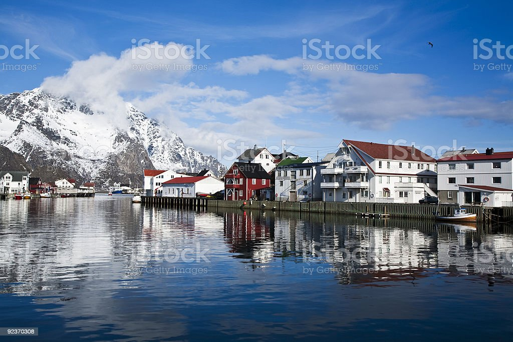 Henningsvaer Harbor royalty-free stock photo