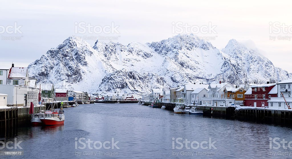 Henningsvaer Harbor Winter royalty-free stock photo