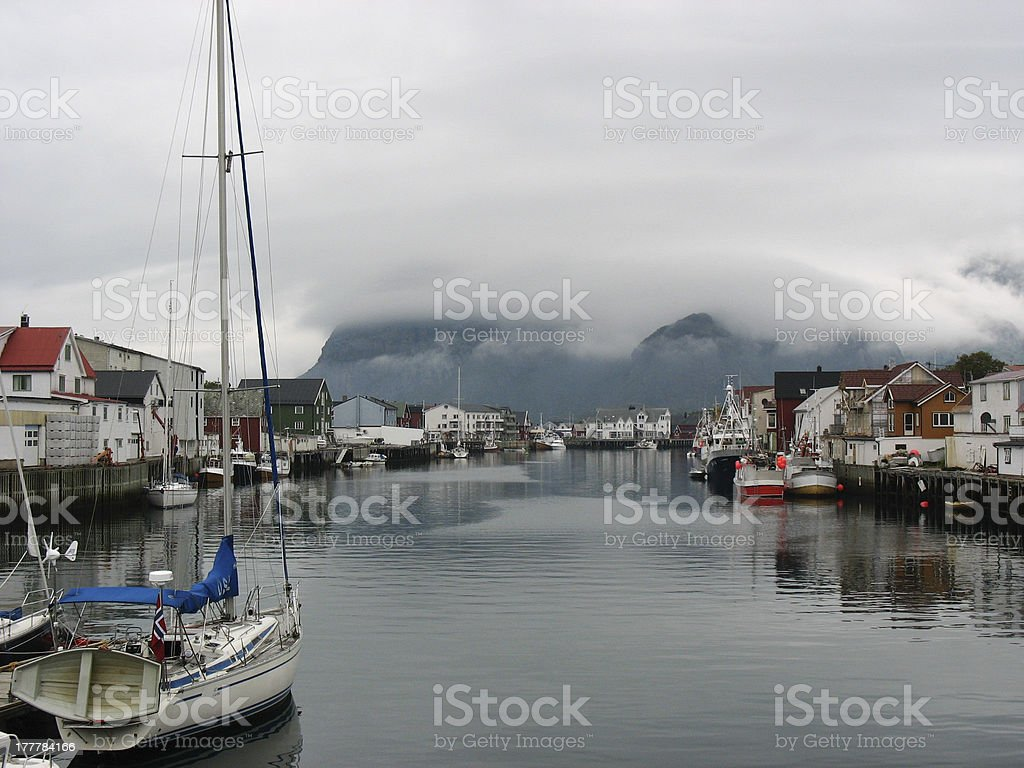 Henningsvaer harbour in the Lofoten islands stock photo
