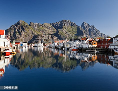 Harbor of Henningsvaer, fishing village in Lofoten islands, Norway