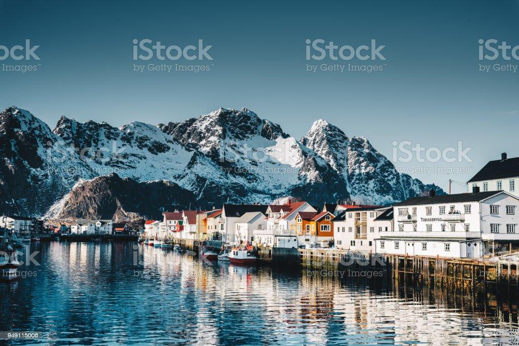 Henningsvær village at the lofoten stock photo