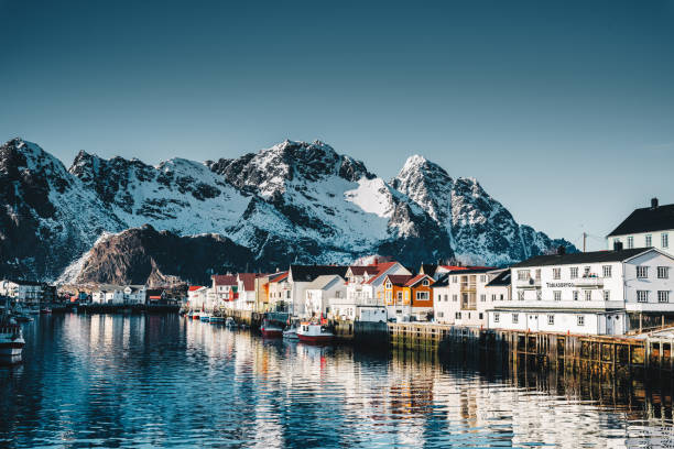 henningsvær village at the lofoten - fjord stock photos and pictures