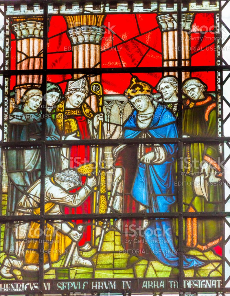 Henry VI King Stained Glass Chapter House Westminster Abbey London England stock photo