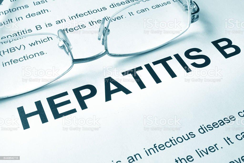 Hepatitis B written on a page. stock photo