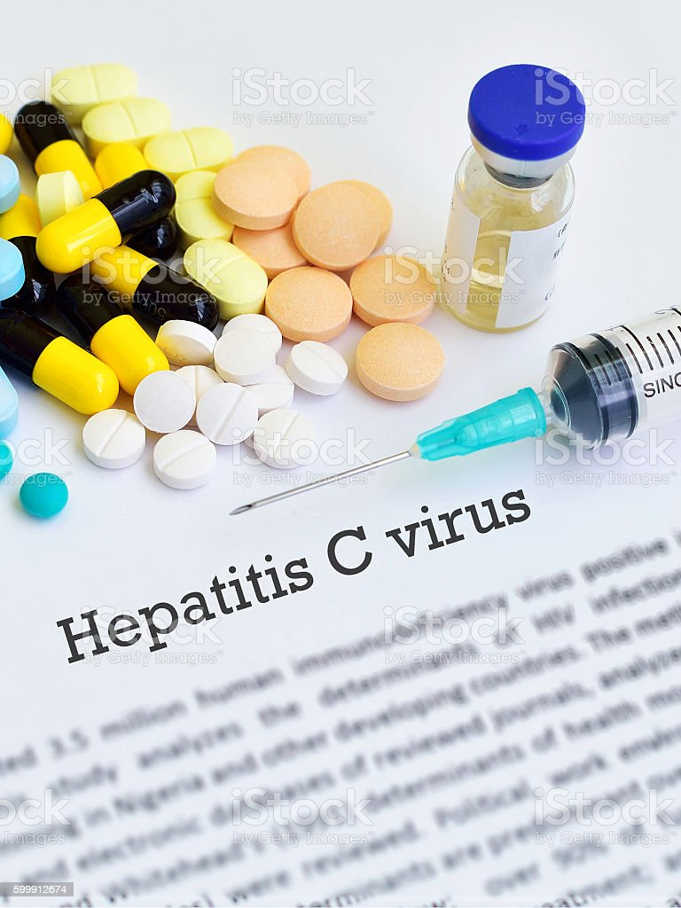 Hepatitis C virus treatment stock photo