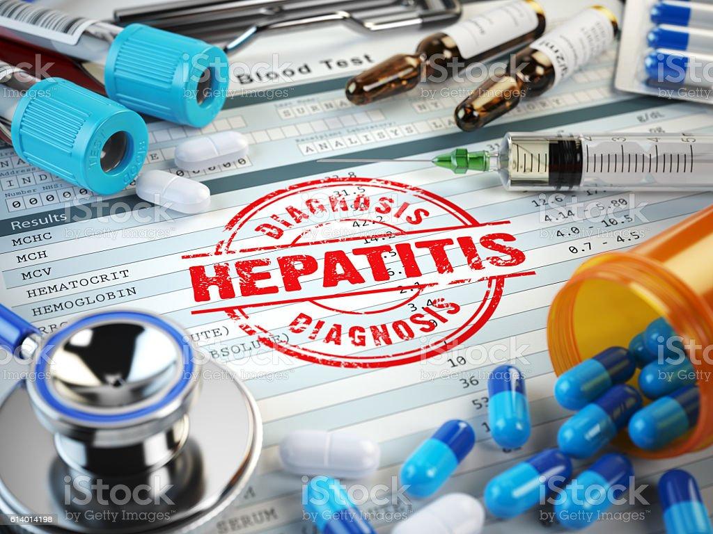 Hepatitis disease diagnosis. Stamp, stethoscope, syringe, blood stock photo