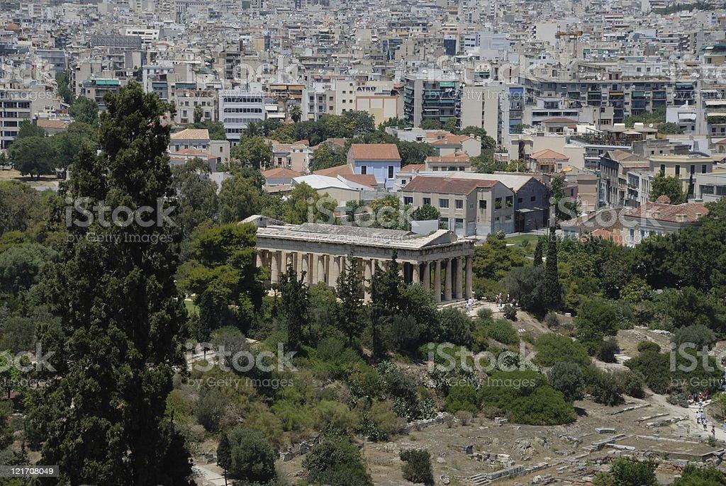 Hephaestium with Athens backdrop royalty-free stock photo