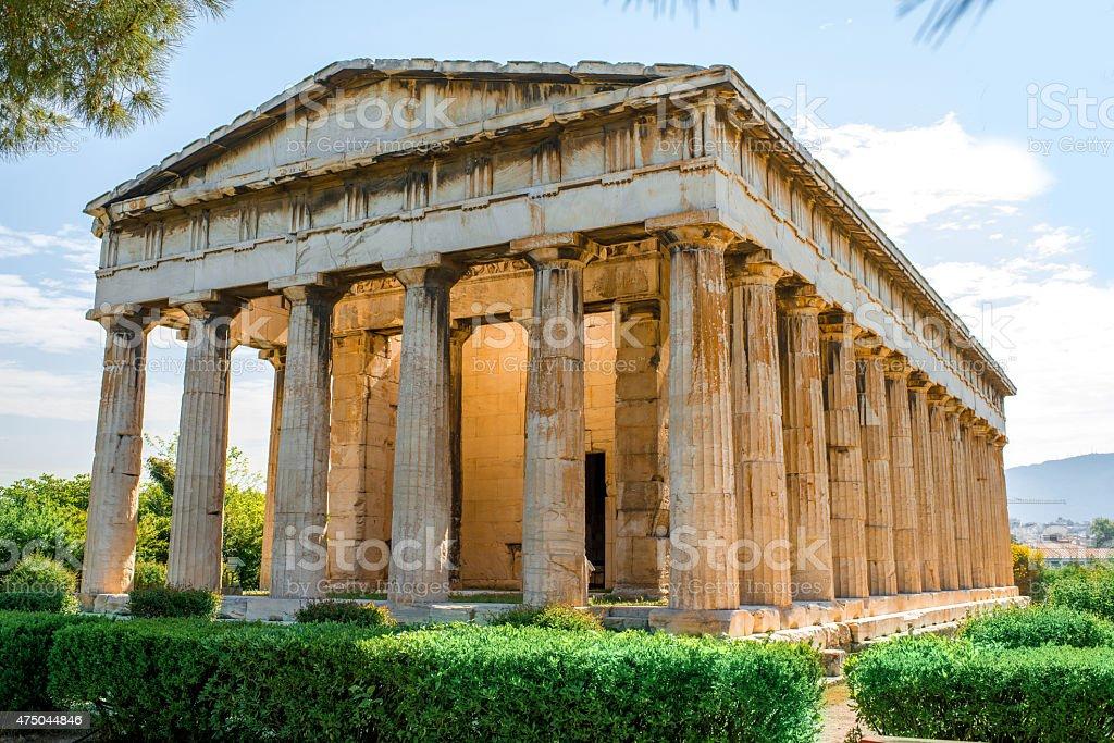 Hephaistos temple in Agora near Acropolis stock photo
