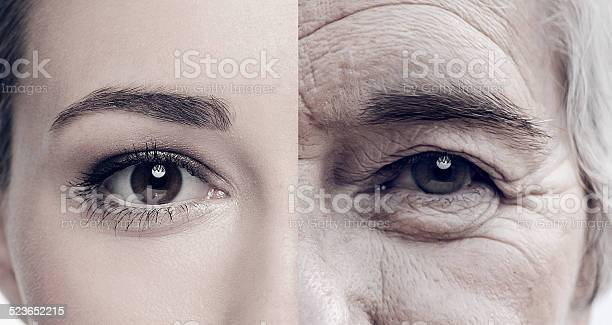 Cropped composite image of a woman when she was young and old