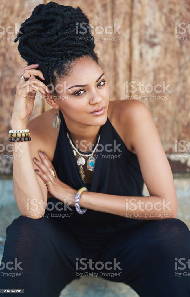 Her beauty comes from her confidence stock photo
