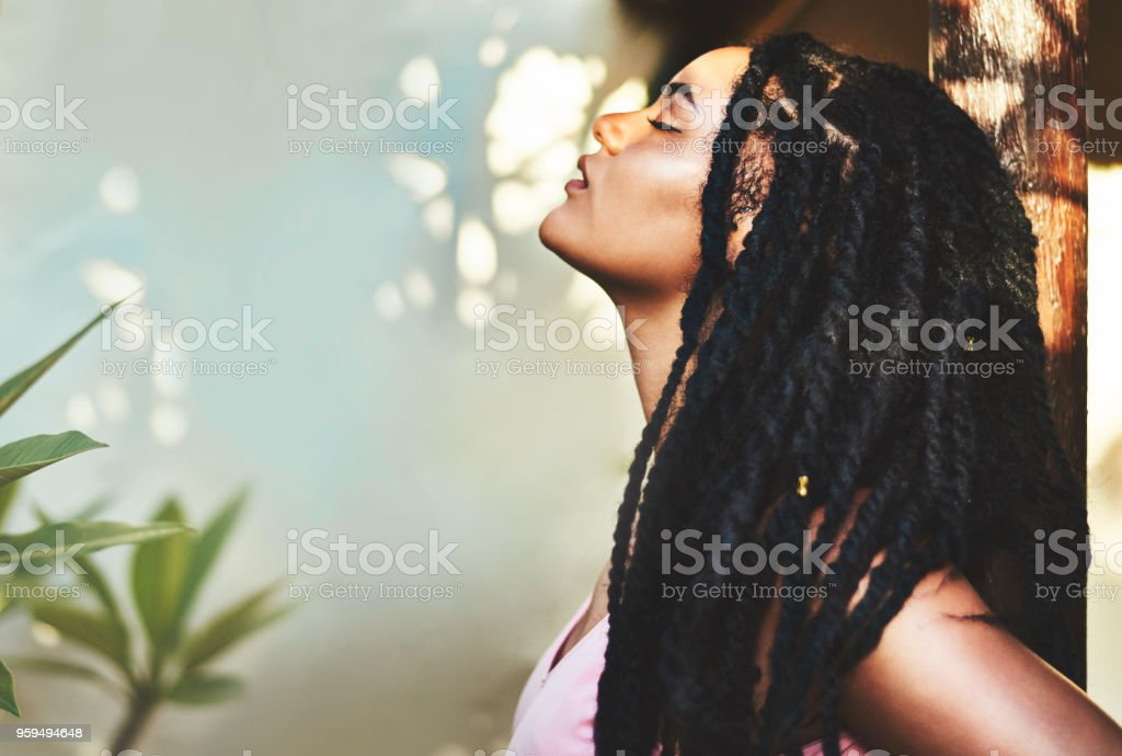 Her beauty glows from within, shining out stock photo