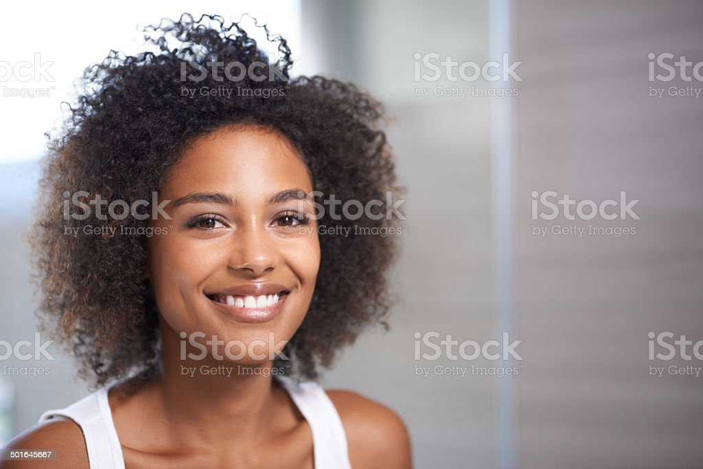 Her beauty is refreshing stock photo