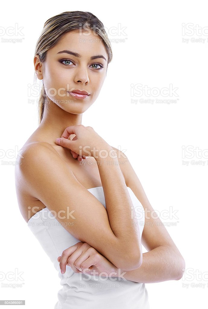 Her confidence is the key to her beauty stock photo